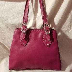Cole Haan Alexa triple compartment bag dark pink